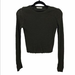 ZARA Knit Sweater Crop green Small